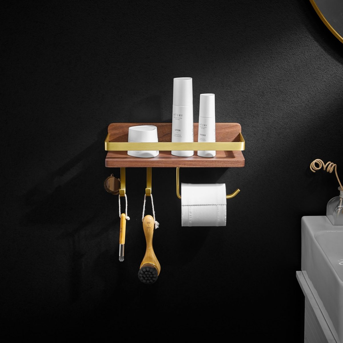 Walnut Wood with AL Cosmetic Shelf - 2/3 Hook